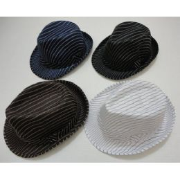 120 Units of Fedora Hat-Pinstripes - Fedoras, Driver Caps & Visor