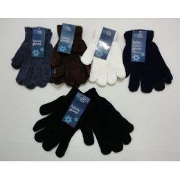 144 Units of Ladies Chenille GloveS--Solid Color - Knitted Stretch Gloves