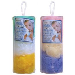 72 Units of 3 Piece Ruffle Body Sponge In Canister - Loofahs & Scrubbers