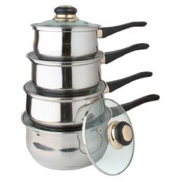 4 Units of 8 Pc Stainless Steel Sauce Pan Set With Lids - Stainless Steel Cookware