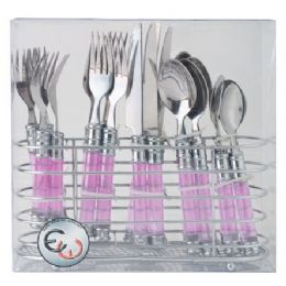 12 Units of 20 Piece Stainless Steel Cutlery Set With Chrome Holder Assorted Colors - Kitchen Cutlery