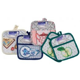 144 Units of Item# 722 2 Piece Mettalic Pot Holder Set W/Pockets - Oven Mits & Pot Holders