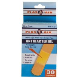 72 Units of Item# 990 30 Count Antibacterial Bandages - First Aid and Bandages