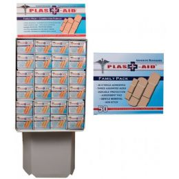 144 Units of 50 Count Adhesive Bandages In Display - First Aid and Bandages