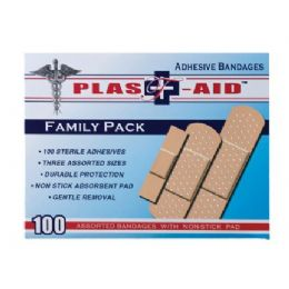 144 Units of Item# 1001 100 Count Adhesive Bandages Assorted Sizes - First Aid and Bandages
