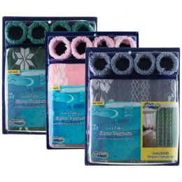 24 Units of Item# 1006 Lace Fabric Shower Curtain, Liner & Hook Set - Shower Accessories
