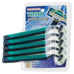 108 Units of Item# 1016 5 Pack Stainless Steel Triple Blade Razors - Shaving Razors