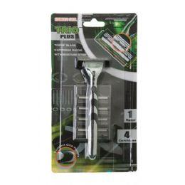 108 Units of Trio Plus Triple Blade Men's Razor + 4 Cartridges - Shaving Razors