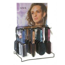 144 Units of Viva Pastel/black Hairbrush On Metal Display Rack - Hair Brushes & Combs