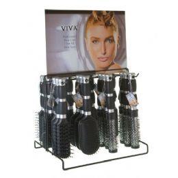 144 Units of Viva 2 Tone Grip Hairbrush On Metal Display Rack - Hair Brushes & Combs