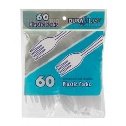 96 Units of 60 Count Heavy Weight Plastic Forks - Disposable Cutlery