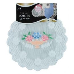 "144 Units of 3 Pc 10"" Rd Airbrushed Lace Doilies - Placemats and Doilies"