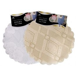 "144 Units of 3 Pc 12"" Round White/Beige Fancy Damask Doily - Placemats and Doilies"