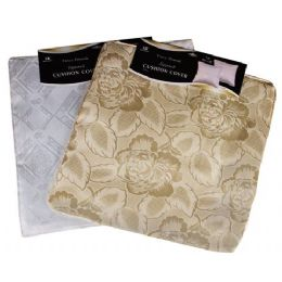 """144 Units of 16""""X16"""" White/Beige Fancy Damask Cushion Cover - Home Accessories"""
