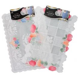 "144 Units of 2 Pc 13"" X18"" White/Beige Lace Placemats - Placemats and Doilies"
