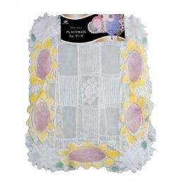 "144 Units of 2 Pc 13""x18"" Sunflower Lace Placemats - Placemats and Doilies"