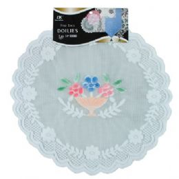 "144 Units of 2 Pc. 14"" Rd. Airbrushed Lace Doilies - Placemats and Doilies"