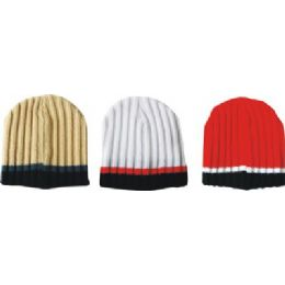 144 Units of Mens Striped Ribbed Hat - Winter Beanie Hats