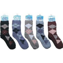 144 Units of Mens Argyle Fuzzy Sock 10-13 - Mens Crew Socks
