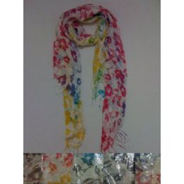 72 Units of Scarf with Fringe--Rainbow Floral - Winter Scarves