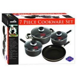 4 Units of 7 Piece Heavy Gauge Non Stick Cookware Set - Pots & Pans