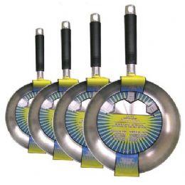 12 Units of Polished Aluminum Fry Pans Four Sizes - Pots & Pans