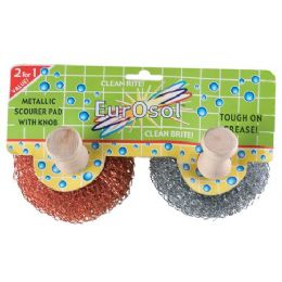 96 Units of 2 Pk Metallic Scourer Pads With Knobs - Cleaning Products