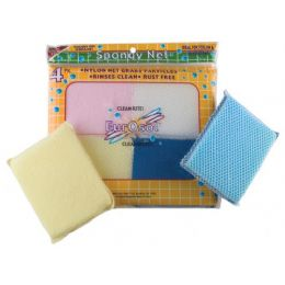 96 Units of 4 Pk Netted Sponge - Cleaning Products