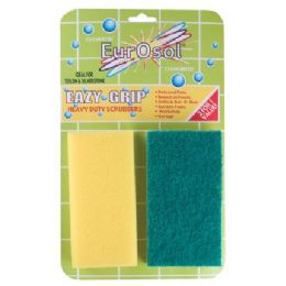 96 Units of 2 Pk Easy Grip Heavy Duty Scrubbers - Scouring Pads & Sponges