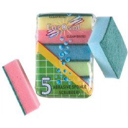 96 Units of 5 Pk Abrasive Sponge Scrubbers - Scouring Pads & Sponges