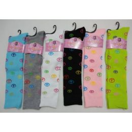 120 Units of Ladies Knee High Socks 9-11 [Peace Signs] - Womens Knee Highs
