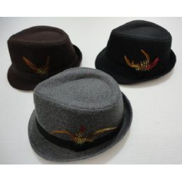 48 Units of Fedora Hat with Feather - Fedoras, Driver Caps & Visor