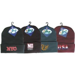 144 Units of Winter Ski Hat With Embroidered Designs - Winter Beanie Hats