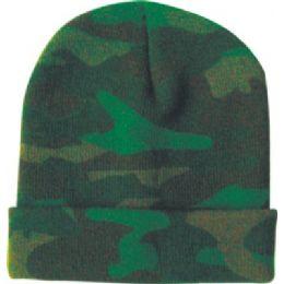 48 Units of Camo Design Ski Hat Asst Colors - Winter Beanie Hats