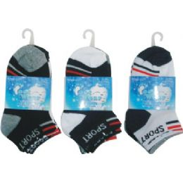 72 Units of 3 Pack Boys Sport Sock Size 4-6 - Boys Crew Sock