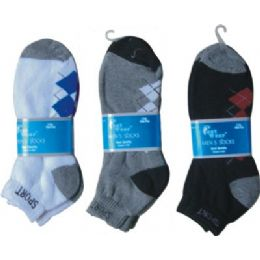 144 Units of 2 Pair Mens Argyle Ankle Sock 9-11 - Mens Ankle Sock