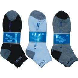 144 Units of 2 Pair Pack Mens Ankle Sock Size 9-11 - Mens Ankle Sock