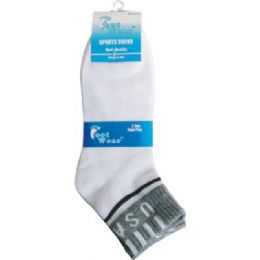 96 Units of 3 Pair Pack Men USA Ankle Sock - Mens Ankle Sock