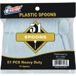 48 Units of 51 Piece Plastic Spoon - Disposable Cutlery