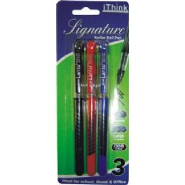 72 Units of 3 Piece Roller Tip Pen - Pens