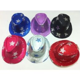 48 Units of Fedora Hat-Sequins with Stars - Fedoras, Driver Caps & Visor