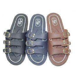 48 Units of Ladies Three Buckle Slide Sandal Size 5-10 - Women's Sandals