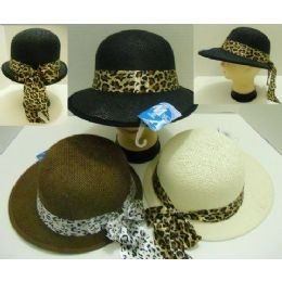 48 Units of Ladies LargE-Brimmed Hat With Animal Print Bow - Sun Hats