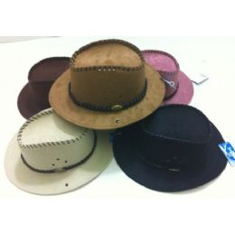 48 Units of Suede Cowboy Hat with Leather-Like Hat Band - Cowboy & Boonie Hat