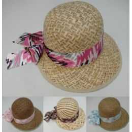 48 Units of Womans Straw Hat With Printed Bow - Sun Hats