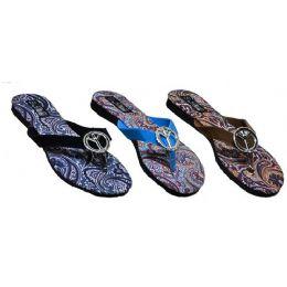 48 Units of Ladies Paisly Peace Sign Sandal - Women's Sandals