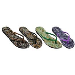 48 Units of Ladies Paisley Flip Flop - Women's Flip Flops