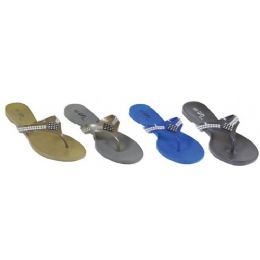 48 Units of Ladies Sandal With Rhinestone Strap - Women's Sandals