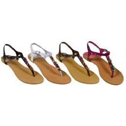 36 Units of Ladies Thong Flat Sandal With Color Beads - Women's Sandals