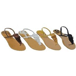 36 Units of Ladies Thong Flat Sandal With Crochet And Sequence - Women's Sandals